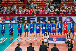 06.09.2014, Jahrhunderthalle, Breslau, POL, Venezuela vs Serbien, Gruppe A, im Bild Presentation Serbia // during the FIVB Volleyball Men's World Championships Pool A Match beween Uenezuela and Serbia at the Jahrhunderthalle in Breslau, Poland on 2014/09/06.<br />