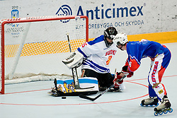Ziga Jeglic on a breakaway with huge opportunity to score, but Petri Korhu of Finnland stopped the puck at Game 1 of IIHF In-Line Hockey World Championships Top Division Group match between National teams of Finnland and Slovenia on June 28, 2010, in Karlstad, Sweden. (Photo by Matic Klansek Velej / Sportida)