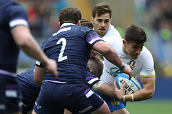 March 17, 2018 - Rome, RM, Italy - Tommaso Allan of Italy in action during the Six Nations 2018 match between Italy and Scotland at Olympic Stadium on March 17, 2018 in Rome, Italy. (Credit Image: © Danilo Di Giovanni/NurPhoto via ZUMA Press)