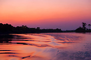 Sunset over the Kunene River (Cunene River), the border between Angola and Namibia, south-west Africa