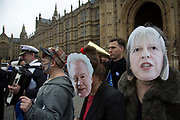 On the day that Article 50 was invoked to start the process of Brexit from the European Union, protesters gather in Westminster to show their displeasure that Britain will be leaving the EU on March 29th 2017 in London, England, United Kingdom.