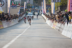 Lizzie Armitstead (Boels-Dolmans Cycling Team) sprints for victory in the last meters of the Trofeo Alfredo Binda - a 123.3km road race from Gavirate to Cittiglio on March 20, 2016 in Varese, Italy.