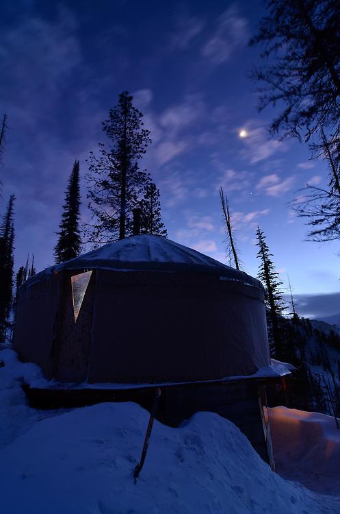 Evening at a ski yurt in Oregon's Wallowa Mountains.