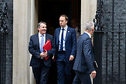 Secretary of State for International Trade Liam Fox, Health Secretary Matt Hancock and Secretary of State for Exiting the European Union Stephen Barclay leave 10 Downing Street following a weekly cabinet meeting on 25th June 2019 in London, United Kingdom.