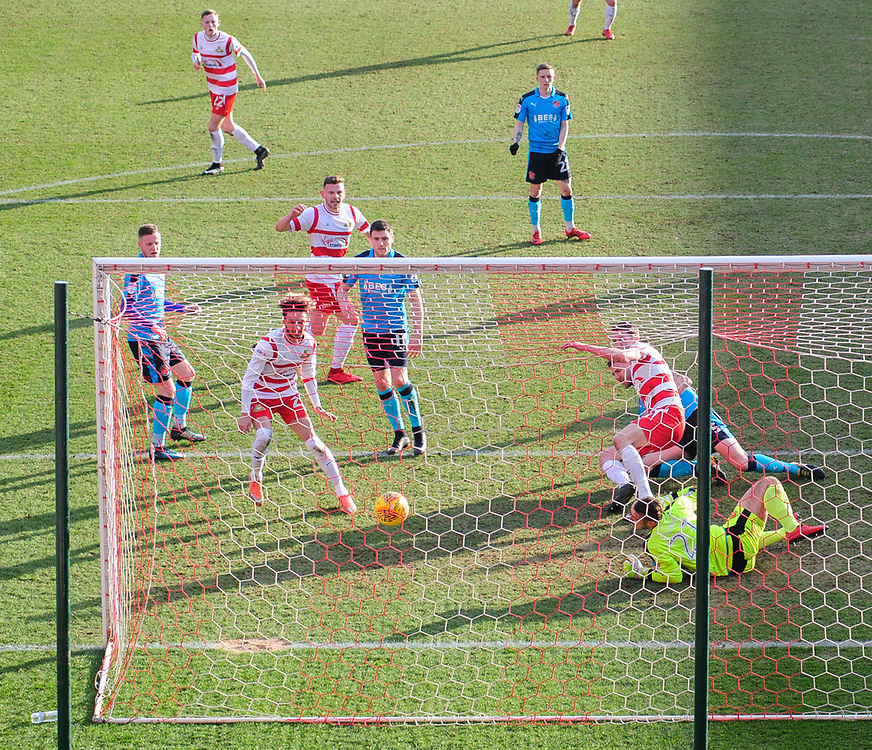 Doncaster Rovers' Tommy Rowe, scores his sides second goal <br /> <br /> Photographer Chris Vaughan/CameraSport<br /> <br /> The EFL Sky Bet League One - Doncaster Rovers v Fleetwood Town - Saturday 17th February 2018 - Keepmoat Stadium - Doncaster<br /> <br /> World Copyright © 2018 CameraSport. All rights reserved. 43 Linden Ave. Countesthorpe. Leicester. England. LE8 5PG - Tel: +44 (0) 116 277 4147 - admin@camerasport.com - www.camerasport.com