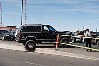 SUV truck drives over steep curve, San Felipe, Baja California, Mexico