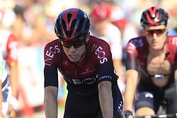 The peloton including David De La Cruz (ESP) Team Ineos cross the finish line at the end of Stage 2 of La Vuelta 2019 running 199.6km from Benidorm to Calpe, Spain. 25th August 2019.<br /> Picture: Eoin Clarke | Cyclefile<br /> <br /> All photos usage must carry mandatory copyright credit (© Cyclefile | Eoin Clarke)