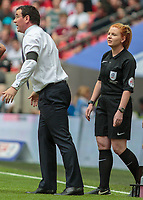 Football - 2017 Sky Bet [EFL] League Two Play-Off Final - Blackpool vs. Exeter City<br /> <br />  Reserve assistant official Helen Byrne goes to speak with Blackpool Manager Gary Bowyer at Wembley.<br /> <br /> COLORSPORT/DANIEL BEARHAM