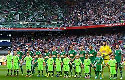 04-08-2015 NED: UEFA CL qualifying AFC Ajax - Rapid Wien, Amsterdam<br /> Ajax is al in de derde voorronde van de Champions League uitgeschakeld. Rapid Wien bleek een niet te nemen horde. Na de 2-2 in Wenen waren de Oostenrijkers in de Arena met 3-2 te sterk / Line up Rapid Wien