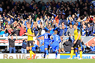 Cardiff City striker Kenneth Zohore (10) scores a goal to make the score 1-0 and celebrates during the EFL Sky Bet Championship match between Burton Albion and Cardiff City at the Pirelli Stadium, Burton upon Trent, England on 5 August 2017. Photo by Richard Holmes.
