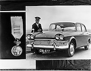 03/07/1961<br /> 07/03/1961<br /> 03 July 1961<br /> Irish Shell, Humber Snipe car with Mr Pike who was chauffeur for the visit of Prince Rainier and Princess Grace of Monaco. Note the Monaco coat of arms affixed to the grill. On left is a medal Mr. Pike received.