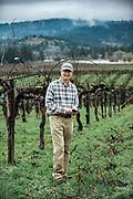 Portrait of Mark Chien at Bethel Heights Vineyard for Oregon Wine Press