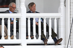 Conservative politician Ken Clarke relaxes as rain stops play during the Second Royal London One Day International match at Trent Bridge, Nottingham.