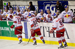 Players of Salzburg celebraten after 4th goal during ice-hockey match between HDD Tilia Olimpija Ljubljana (SLO) and EC Red Bull Salzburg (AUT) in 2nd Quaterfinals of EBEL league, on March 1, 2011 in Hala Tivoli, Ljubljana, Slovenia. (Photo By Vid Ponikvar / Sportida.com)