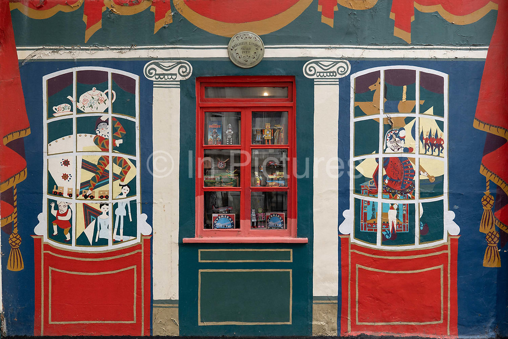 A colourful wall mural outside Pollocks Toy Museum on the 27th September 2019 in London in the United Kingdom. Pollocks Toy Museum is a small museum in central London.
