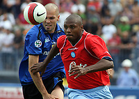 "Empoli (Florence, Italy) Stadium ""Carlo Castellani"" Match day 4 Serie A Campionship Empoli F.C.-S.S.C.Napoli September 23:<br /> Marcello Zalayeta of Napoli (red) and Andrea Raggi of Empoli (blue) during the match on September 23, 2007 in Empoli, Italy. Empoli and Napoli 0-0<br /> Photo by Gianni Nucci/Insidefoto"