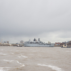 LIVERPOOL, UK, 23rd May, 2013. Royal Navy vessel HMS Bulwark arrives in the River Mersey, Liverpool, UK, as part of the Battle of the Atlantic 70th anniversary celebration weekend. A fleet of 21  Royal Naval vessels will visit over the weekend.
