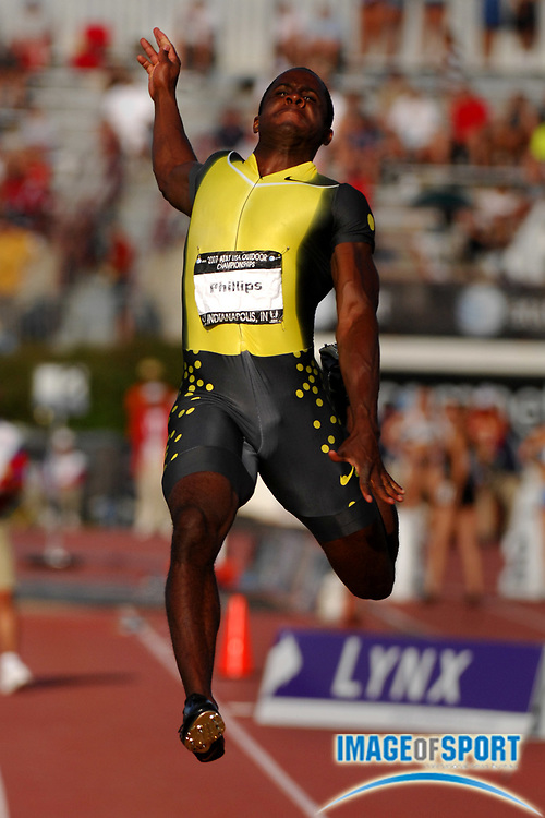 Dwight Phillips wins the long jump in a wind-aided 27-5 1/4 (8.36m) in the USA Track & Field Championships  at Carroll Stadium in Indianapolis, Ind. on Friday, June 22, 2007.