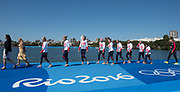 "Rio de Janeiro. BRAZIL   Women's Eights Final. Silver Medalist GBR W8+. Bow. Katie<br /> GREVES, Melanie  WILSON, Frances HOUGHTON, Polly  SWANN,  Jessica EDDIE,  Olivia CARNEGIE-BROWN, Karen BENNETT, Zoe LEE and  Zoe DE TOLEDO, 2016 Olympic Rowing Regatta. Lagoa Stadium, Copacabana,  ""Olympic Summer Games""<br /> Rodrigo de Freitas Lagoon, Lagoa. Local Time 11:40:40  Saturday  13/08/2016<br /> [Mandatory Credit; Peter SPURRIER/Intersport Images]"