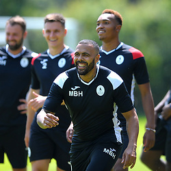 Matthew Barnes Holmer in good spirits as AFC Telford United return to pre-season training at Lilleshall National Sports Centre on Saturday, June 29, 2019.<br /> <br /> Free for editorial use only<br /> Picture credit: Mike Sheridan/Ultrapress<br /> <br /> MS201920-003