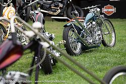 BF11 invited builder Ben Zales' custom 1963 Harley-Davidson Panhead at the Born Free set-up day before the big show. Oak Canyon Ranch, Silverado, CA, USA. Friday, June 21, 2019. Photography ©2019 Michael Lichter.