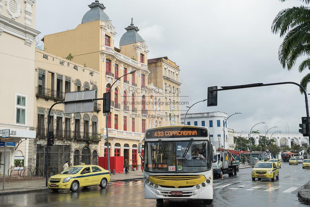 Vehicles on the Avenida República do Paraguai in the Lapa neighborhood of Rio de Janeiro, Brazil.