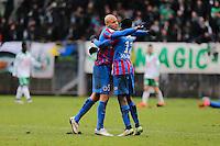Joie Ala Eddine YAHIA / Dennis APPIAH - 01.02.2015 - Caen / Saint Etienne - 23eme journee de Ligue 1 -<br />Photo : Vincent Michel / Icon Sport