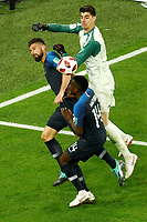 SAINT PETERSBURG, RUSSIA - JULY 10: Thibaut Courtois (R) of Belgium national team vies for the ball with Olivier Giroud (L) and Blaise Matuidi of France national team during the 2018 FIFA World Cup Russia Semi Final match between France and Belgium at Saint Petersburg Stadium on July 10, 2018 in Saint Petersburg, Russia. MB Media