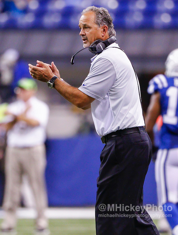 INDIANAPOLIS, IN - SEPTEMBER 3: Head coach Chuck Pagano of the Indianapolis Colts is seen during the game against the Cincinnati Bengals at Lucas Oil Stadium on September 3, 2015 in Indianapolis, Indiana. (Photo by Michael Hickey/Getty Images) *** Local Caption *** Chuck Pagano