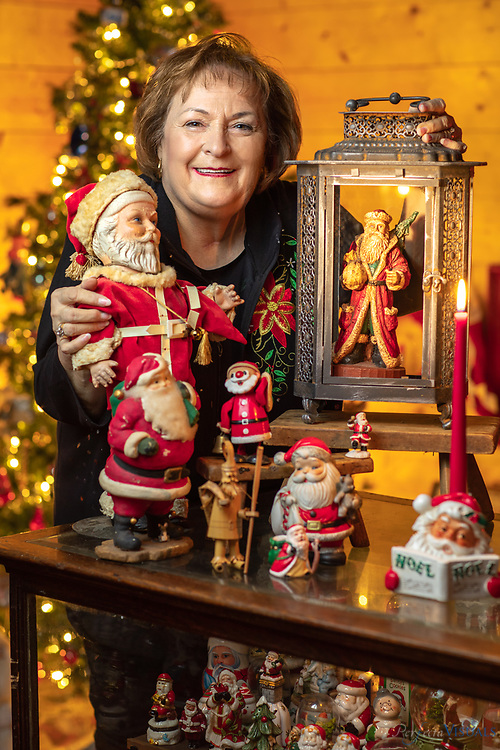 Judy Barnhardt and her husband Ron are Santa memorabilia collectors. They've built a 1,000-square-foot house behind their home on Irish Potato Road to house their more than 9000 Santas.<br /> <br /> Their collection is available for group tours by appointment with donations accepted to Hospice and Palliative Care of Cabarrus County. The Santa House is handicap accessible. To schedule a tour, contact Judy Barnhardt at 980-521-0523 or jmbarnhardt@carolina.rr.com.<br /> <br /> Photographed, Thursday, December 7, 2017, in Concord, N.C. JERRY WOLFORD and SCOTT MUTHERSBAUGH / Perfecta Visuals