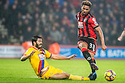 Bournemouth midfielder Jordon Ibe (33), Crystal Palace defender James Tomkins (5) during the Premier League match between Bournemouth and Crystal Palace at the Vitality Stadium, Bournemouth, England on 31 January 2017. Photo by Sebastian Frej.