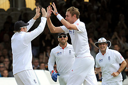 File photo dated 23-07-2011 of England's Stuart Broad (centre) celebrates with Ian Bell (left) after bowling out India's Gautam Gambhir for 15 during day three of the First npower Test at Lord's Cricket Ground, London.