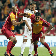 Galatasaray's Gokhan ZAN (R) celebrate his goal with team mate during their Turkish Super League soccer match Galatasaray between Eskisehirspor at the TT Arena at Seyrantepe in Istanbul Turkey on Monday, 26 September 2011. Photo by TURKPIX