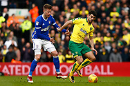 Norwich City striker Nelson Oliveira (9) Ipswich Town defender Adam Webster (6) battles for possession during the EFL Sky Bet Championship match between Norwich City and Ipswich Town at Carrow Road, Norwich, England on 18 February 2018. Picture by Phil Chaplin.