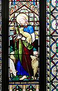 The Good Shepherd, stained glass window, Church of Saint Mary, Mendlesham, Suffolk, England, UK