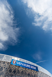 12.06.2016, Stade de Nice, Nizza, FRA, UEFA Euro, Frankreich, Polen vs Nordirland, Gruppe C, im Bild das Logo der UEFA EURO 2016 am Stadion // the logo of UEFA EURO 2016 at the Stadium during Group C match between Poland and Northern Ireland of the UEFA EURO 2016 France at the Stade de Nice in Nizza, France on 2016/06/12. EXPA Pictures © 2016, PhotoCredit: EXPA/ JFK