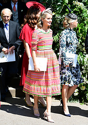 Cressida Bonas leaves St George's Chapel at Windsor Castle after the wedding of Meghan Markle and Prince Harry.