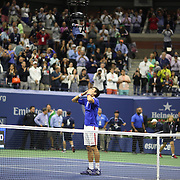 Novak Djokovic, Serbia, celebrates winning the Men's Singles Final against Roger Federer, Switzerland, during the US Open Tennis Tournament, Flushing, New York, USA. 13th September 2015. Photo Tim Clayton