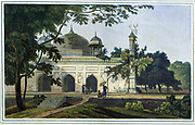 Mausoleum of Nawaub Asoph Khan, Rajemahel such as this tomb, which they believed to be that of Nawab Asaf Khan, Jahangir's brother-in-law. Asaf Khan (d. 1641) in fact is buried in Lahore, and it is not now known who lies buried in this now vanished tomb in Rajmahal, the former capital of the Subahdar or Mughal Viceroy of Bengal and Bihar. From the book ' Oriental scenery: one hundred and fifty views of the architecture, antiquities and landscape scenery of Hindoostan ' by Thomas Daniell, and William Daniell, Published in London by the Authors May 1, 1813