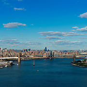 Aerial view of Brooklyn and Manhattan bridges from helicopter