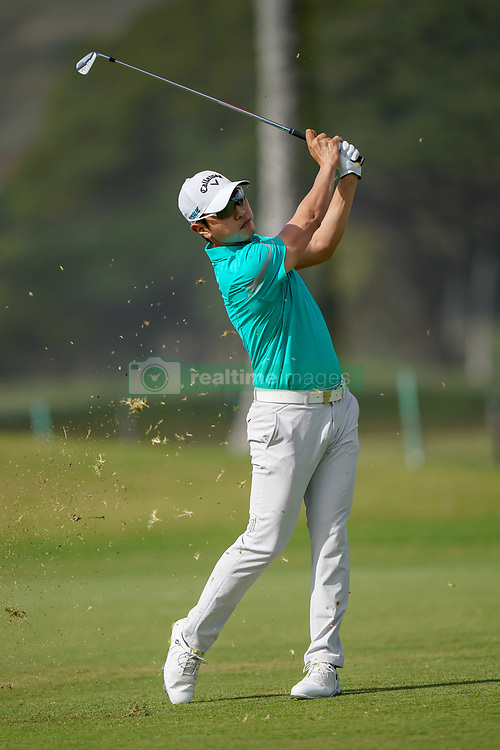 January 10, 2019 - Honolulu, HI, U.S. - HONOLULU, HI - JANUARY 10: Sangmoon Bae of South Korea hits his second shot on the 9th hole during the first round of the Sony Open on January 10, 2019, at the Waialae Counrty Club in Honolulu, HI. (Photo by Darryl Oumi/Icon Sportswire) (Credit Image: © Darryl Oumi/Icon SMI via ZUMA Press)