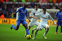 Saturday, 03 November 2012..Pictured L-R: Ramires of Chelsea marked by Ben Davies and Pablo Hernandez of Swansea..Re: Barclays Premier League, Swansea City FC v Chelsea at the Liberty Stadium, south Wales.