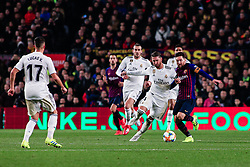 February 6, 2019 - Barcelona, BARCELONA, Spain - 10 Leo Messi of FC Barcelona defended by 04 Sergio Ramos of Real Madrid during the semi-final first leg of Spanish King Cup / Copa del Rey football match between FC Barcelona and Real Madrid on 04 of February of 2019 at Camp Nou stadium in Barcelona, Spain (Credit Image: © AFP7 via ZUMA Wire)