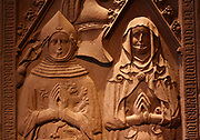 Tombstone. Henry (the boy) Beyer of Boppard 1376 and his wife Lisa of Pyrmont 1399 Red Sandstone Late 14th century Benedictine Klostermarienberg Boppard, Rhineland Palatinate (Germany)