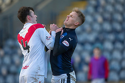 Airdrie's Kieran Masdonald and Raith Rovers Bobby Barr have a little shoving match. Raith Rovers 2 v 1 Airdrie, Scottish Football League Division One game played 10/2/2018 at Stark's Park, Kirkcaldy.