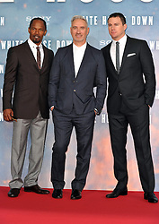 Jamie Foxx (L), Roland Emmerich (C) Channing Tatum (R) attends the 'White House Down' Germany premiere at CineStar on Monday September 2, 2013 in Berlin, Germany. Picture Schneider-Press / John Farr / i-Images.<br /> UK & USA ONLY