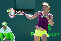 March 22, 2018 - Key Biscayne, FL, U.S. - KEY BISCAYNE, FL - MARCH 22: Johanna Larsson (SWE) in action on March 22, 2018, at the Tennis Center at Crandon Park in Key Biscayne, FL. (Photo by Andrew Patron/Icon Sportswire) (Credit Image: © Andrew Patron/Icon SMI via ZUMA Press)