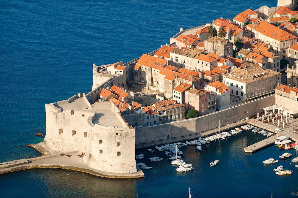 Stock photos of Arial view of Dubrovnik old town port - Croatia .<br /> <br /> Visit our MEDIEVAL PHOTO COLLECTIONS for more   photos  to download or buy as prints https://funkystock.photoshelter.com/gallery-collection/Medieval-Middle-Ages-Historic-Places-Arcaeological-Sites-Pictures-Images-of/C0000B5ZA54_WD0s