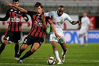 FOOTBALL - FRENCH CHAMPIONSHIP 2011/2012 - L1 - OLYMPIQUE MARSEILLE v OGC NICE  - 6/11/2011 - PHOTO PHILIPPE LAURENSON / DPPI - RENATO CIVELLI (NIC) / ANDRE AYEW (OM)