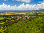 Aerial view of Lihue, Kauai, Hawaii on a cloudy day.